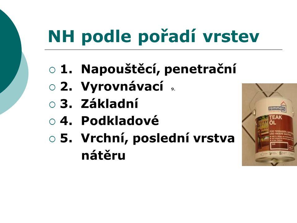 NH podle pořadí vrstev  1. Napouštěcí, penetrační  2. Vyrovnávací 9.  3. Základní  4. Podkladové  5. Vrchní, poslední vrstva nátěru