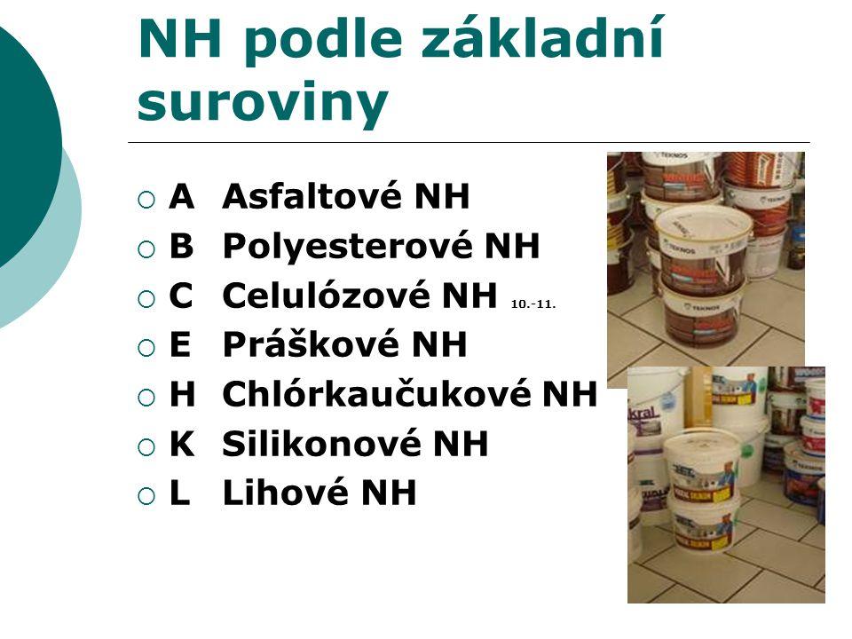 NH podle základní suroviny  A Asfaltové NH  B Polyesterové NH  C Celulózové NH 10.-11.  E Práškové NH  H Chlórkaučukové NH  K Silikonové NH  L