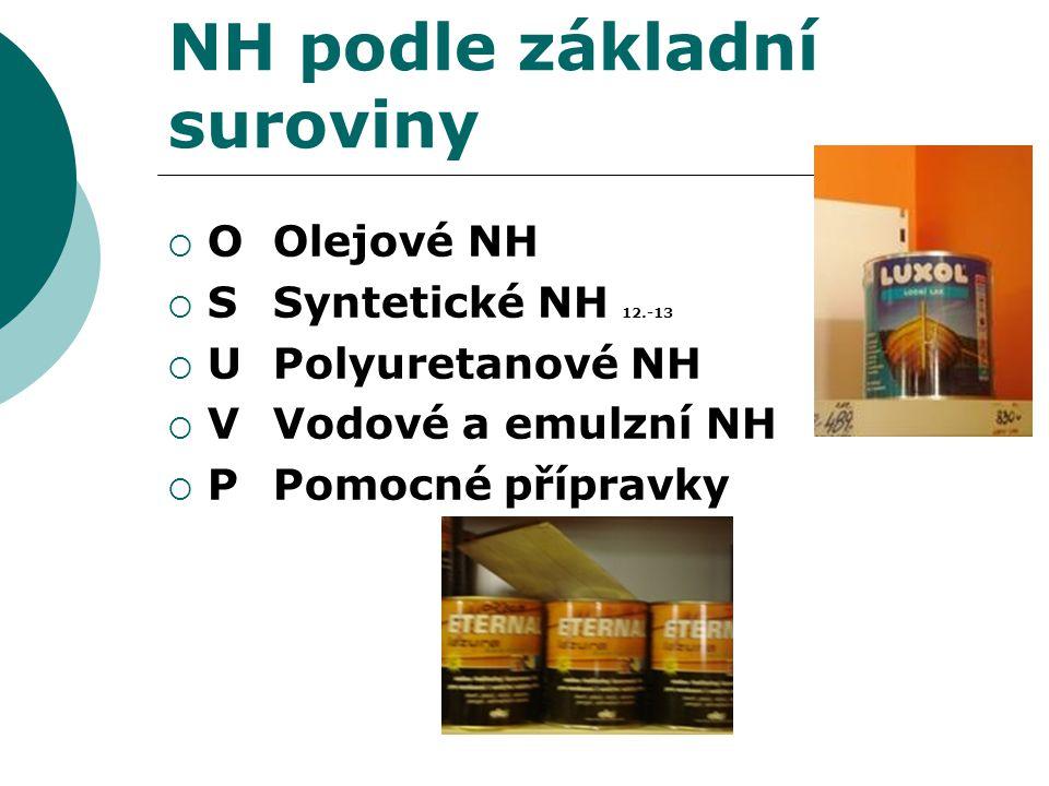 NH podle základní suroviny  O Olejové NH  S Syntetické NH 12.-13  U Polyuretanové NH  V Vodové a emulzní NH  P Pomocné přípravky