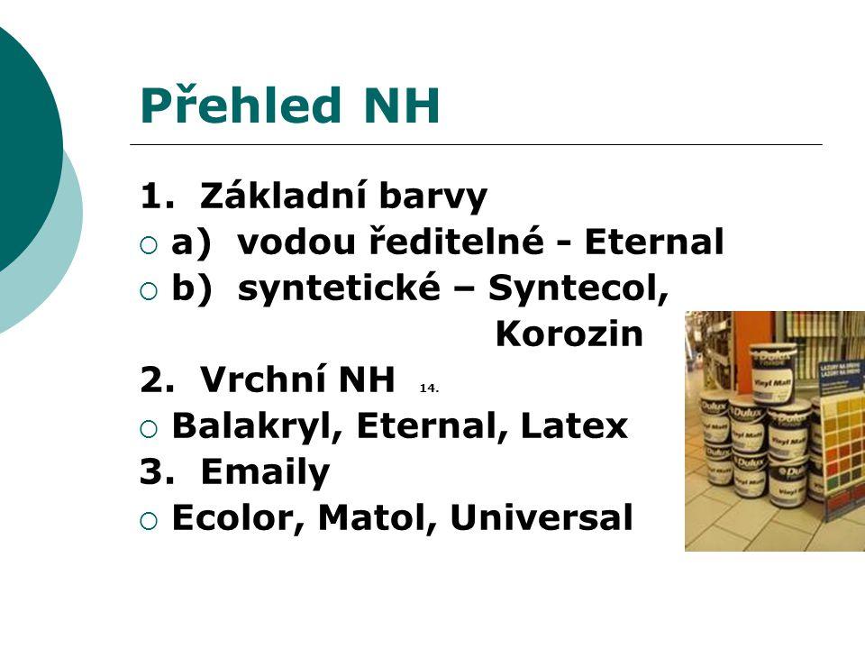 Přehled NH 1. Základní barvy  a) vodou ředitelné - Eternal  b) syntetické – Syntecol, Korozin 2. Vrchní NH 14.  Balakryl, Eternal, Latex 3. Emaily