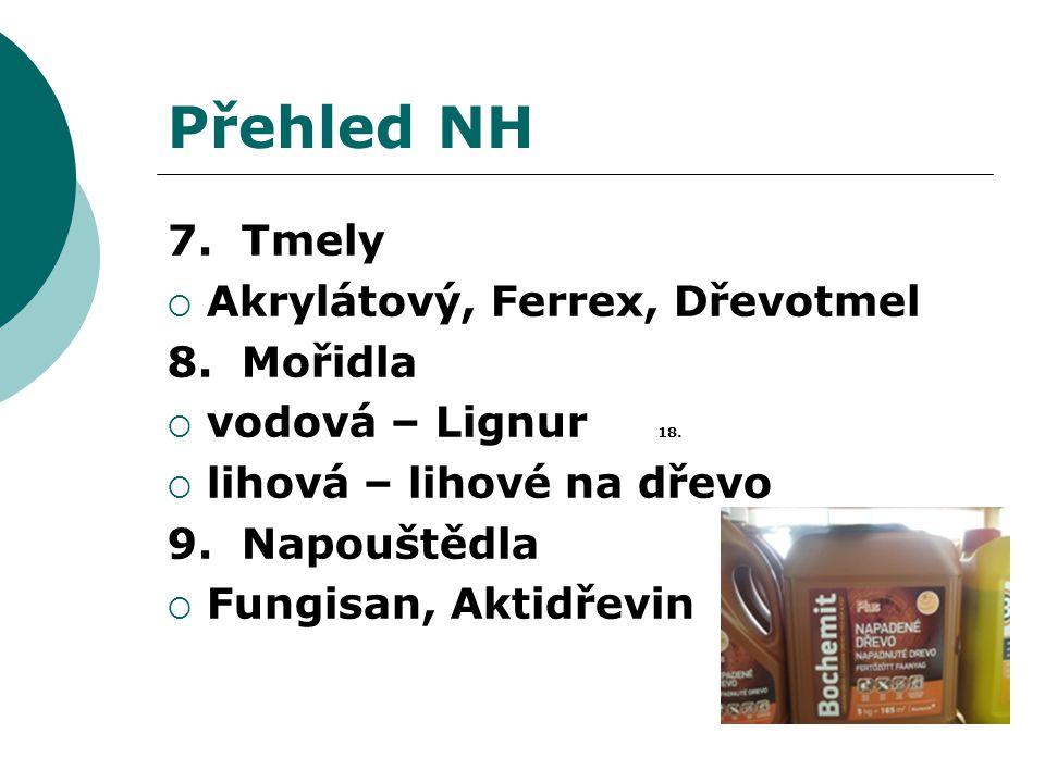 Přehled NH 7. Tmely  Akrylátový, Ferrex, Dřevotmel 8. Mořidla  vodová – Lignur 18.  lihová – lihové na dřevo 9. Napouštědla  Fungisan, Aktidřevin