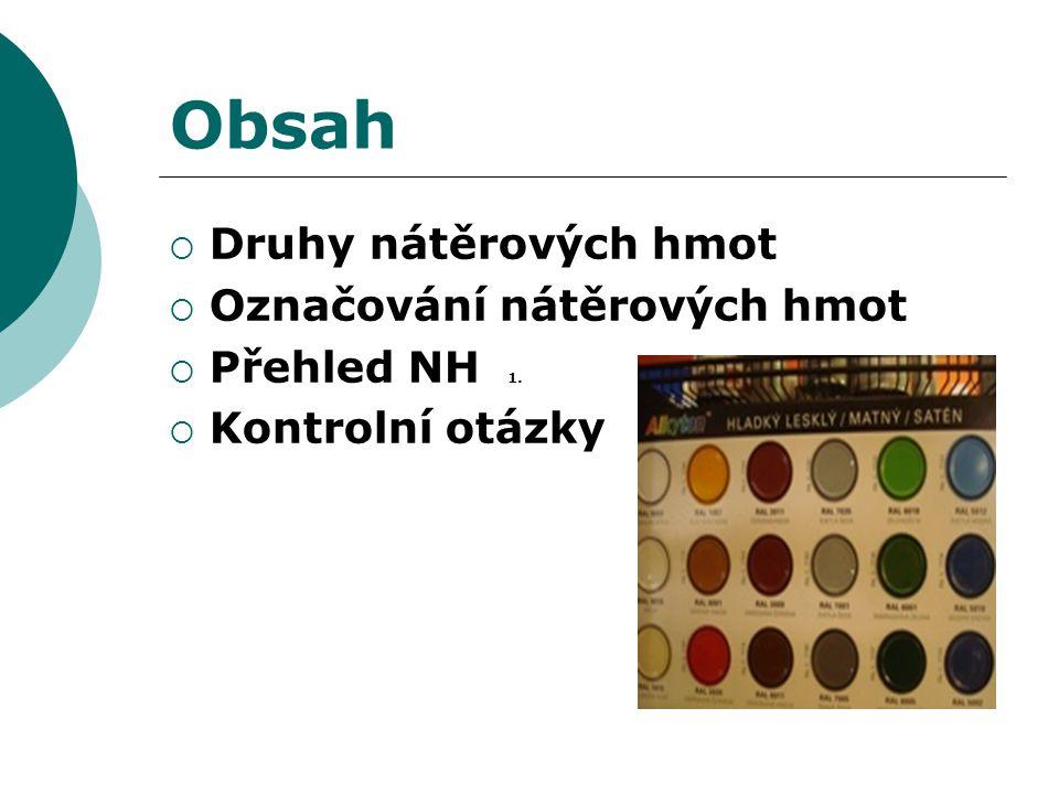 Obsah  Druhy nátěrových hmot  Označování nátěrových hmot  Přehled NH 1.  Kontrolní otázky