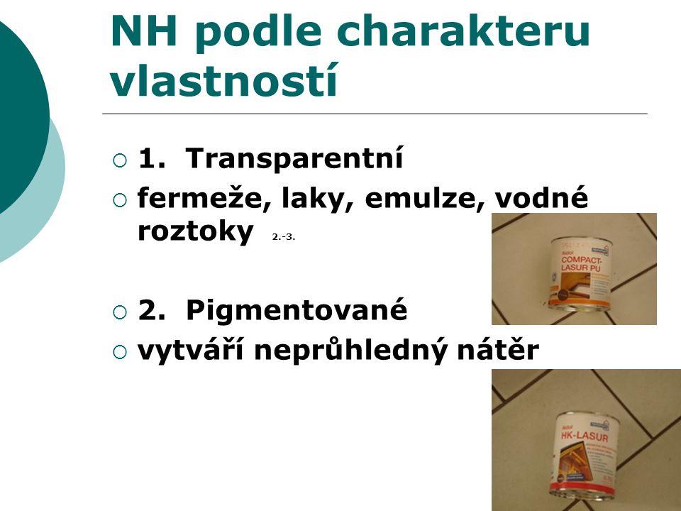 NH podle charakteru vlastností  1. Transparentní  fermeže, laky, emulze, vodné roztoky 2.-3.  2. Pigmentované  vytváří neprůhledný nátěr