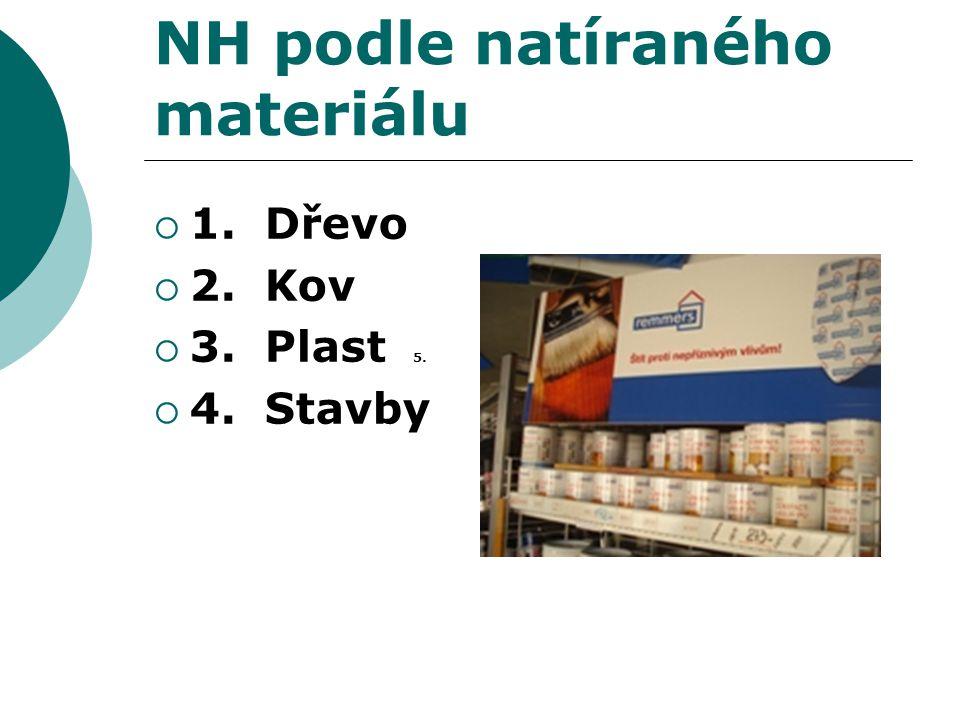 NH podle natíraného materiálu  1. Dřevo  2. Kov  3. Plast 5.  4. Stavby