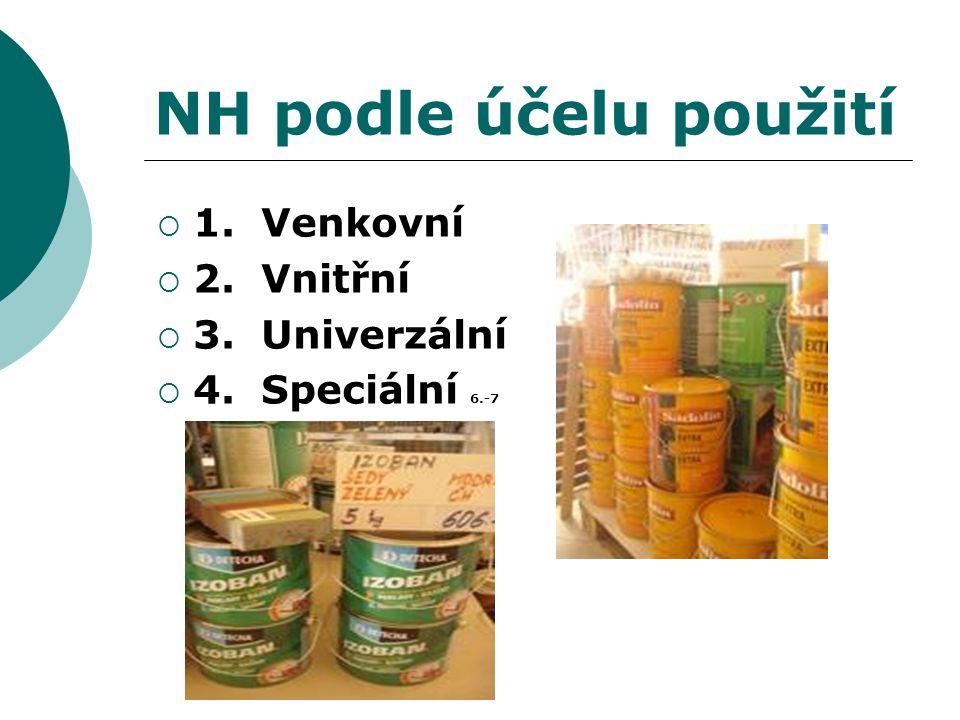 NH podle účelu použití  1. Venkovní  2. Vnitřní  3. Univerzální  4. Speciální 6.-7