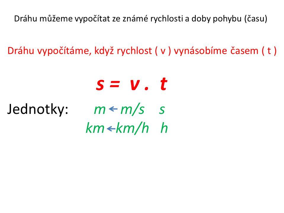 s = v. t Dráhu můžeme vypočítat ze známé rychlosti a doby pohybu (času) Dráhu vypočítáme, když rychlost ( v ) vynásobíme časem ( t ) Jednotky: m m/s s