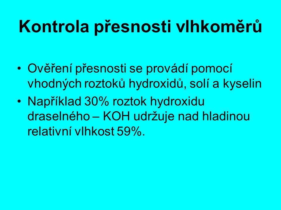 Kontrola přesnosti vlhkoměrů Ověření přesnosti se provádí pomocí vhodných roztoků hydroxidů, solí a kyselin Například 30% roztok hydroxidu draselného