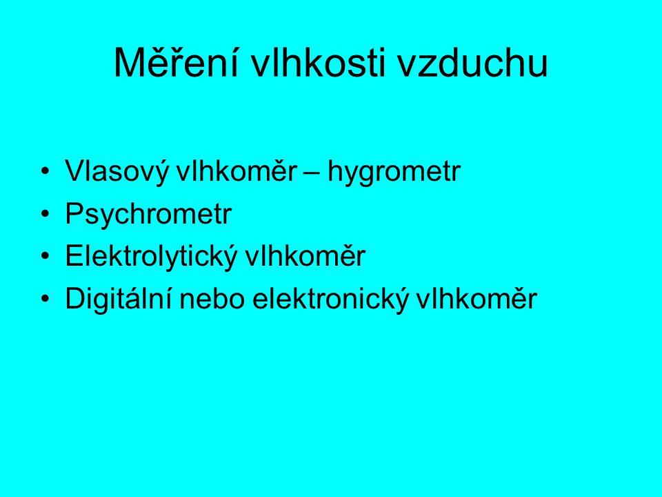 Měření vlhkosti vzduchu Vlasový vlhkoměr – hygrometr Psychrometr Elektrolytický vlhkoměr Digitální nebo elektronický vlhkoměr