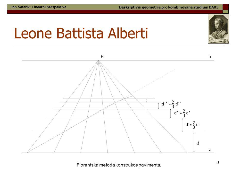 13 Florentská metoda konstrukce pavimenta. Leone Battista Alberti Jan Šafařík: Lineární perspektiva Deskriptivní geometrie pro kombinované studium BA0