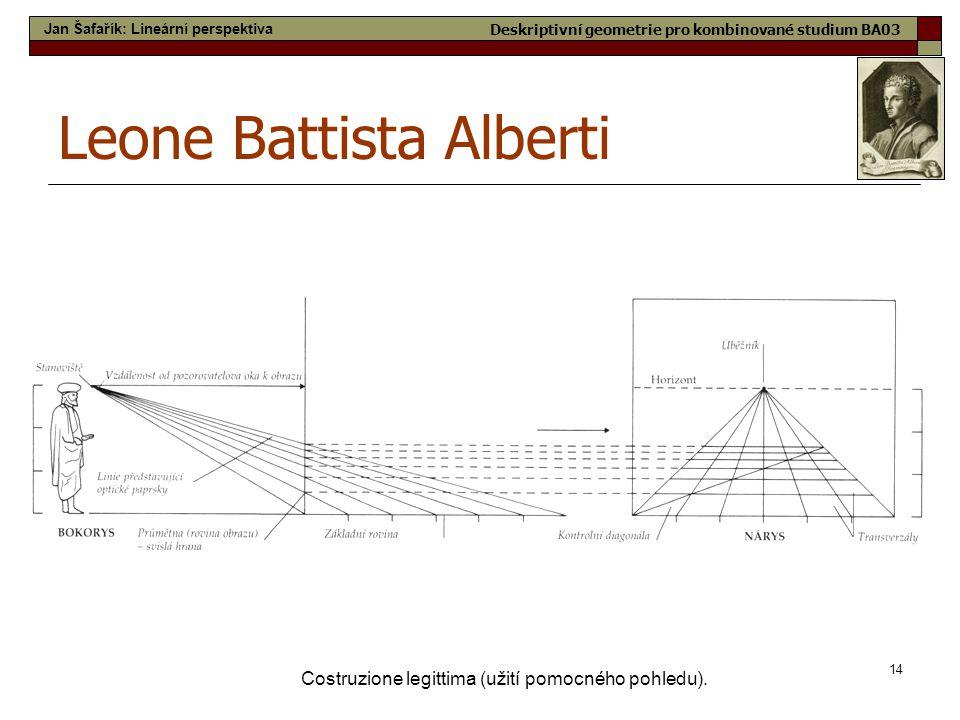 14 Costruzione legittima (užití pomocného pohledu). Leone Battista Alberti Jan Šafařík: Lineární perspektiva Deskriptivní geometrie pro kombinované st