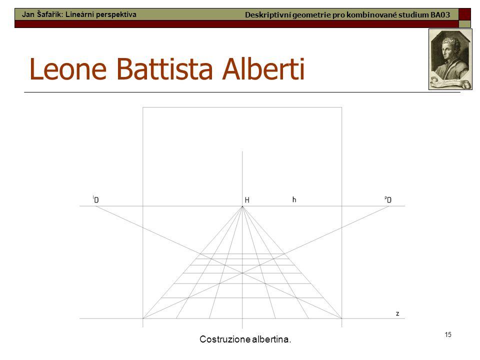 15 Costruzione albertina. Leone Battista Alberti Jan Šafařík: Lineární perspektiva Deskriptivní geometrie pro kombinované studium BA03