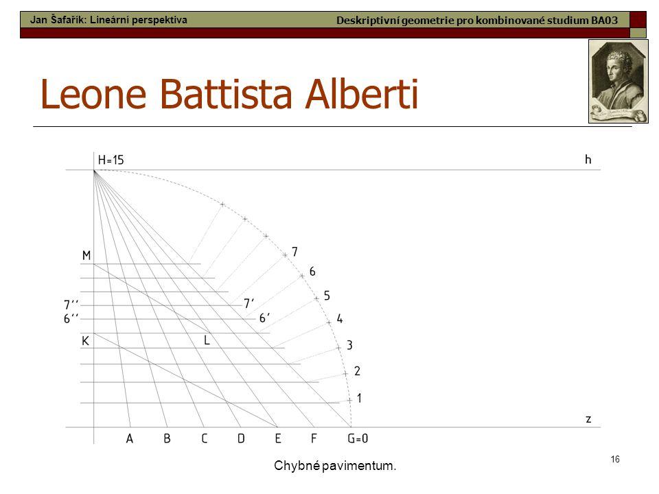 16 Chybné pavimentum. Leone Battista Alberti Jan Šafařík: Lineární perspektiva Deskriptivní geometrie pro kombinované studium BA03