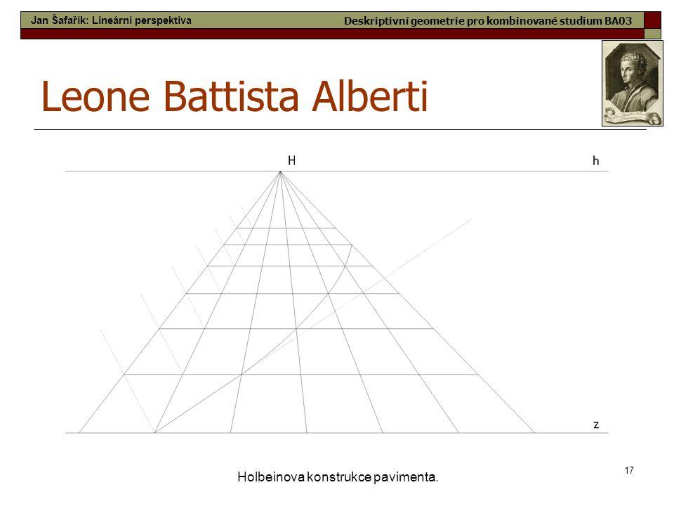17 Holbeinova konstrukce pavimenta. Leone Battista Alberti Jan Šafařík: Lineární perspektiva Deskriptivní geometrie pro kombinované studium BA03