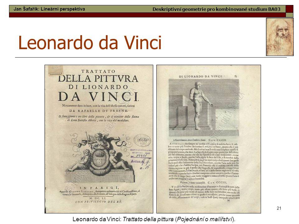 21 Leonardo da Vinci Leonardo da Vinci: Trattato della pittura (Pojednání o malířství). Jan Šafařík: Lineární perspektiva Deskriptivní geometrie pro k
