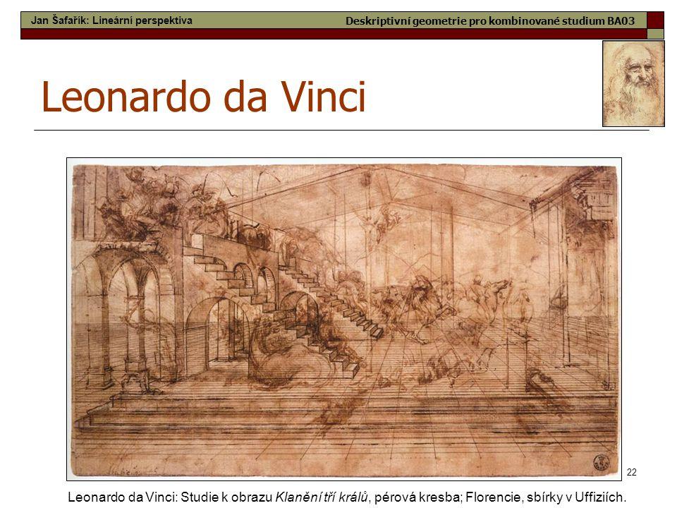 22 Leonardo da Vinci Leonardo da Vinci: Studie k obrazu Klanění tří králů, pérová kresba; Florencie, sbírky v Uffiziích. Jan Šafařík: Lineární perspek