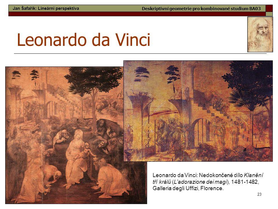 23 Leonardo da Vinci Leonardo da Vinci: Nedokončené dílo Klanění tří králů (L'adorazione dei magi), 1481-1482, Galleria degli Uffizi, Florence. Jan Ša