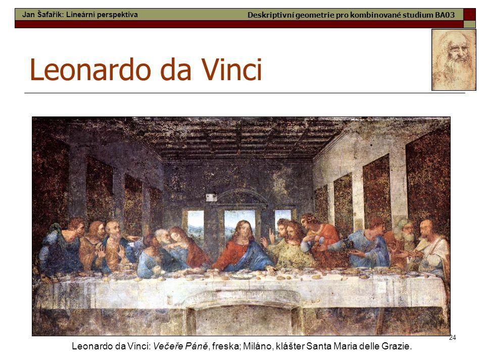 24 Leonardo da Vinci Leonardo da Vinci: Večeře Páně, freska; Miláno, klášter Santa Maria delle Grazie. Jan Šafařík: Lineární perspektiva Deskriptivní
