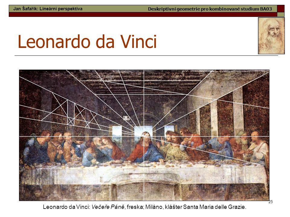 25 Leonardo da Vinci Leonardo da Vinci: Večeře Páně, freska; Miláno, klášter Santa Maria delle Grazie. Jan Šafařík: Lineární perspektiva Deskriptivní