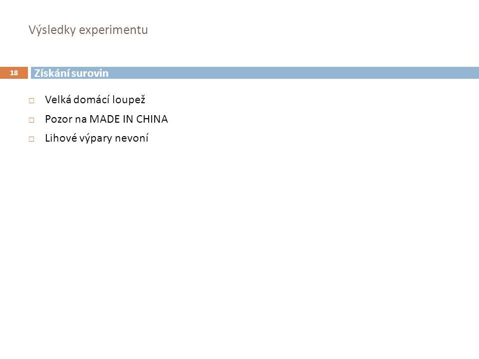 Výsledky experimentu 18  Velká domácí loupež  Pozor na MADE IN CHINA  Lihové výpary nevoní Získání surovin