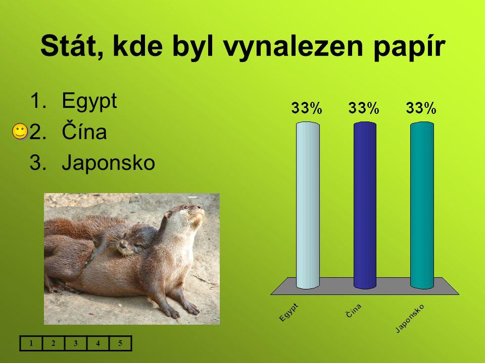 Stát, kde byl vynalezen papír 1.Egypt 2.Čína 3.Japonsko 12345