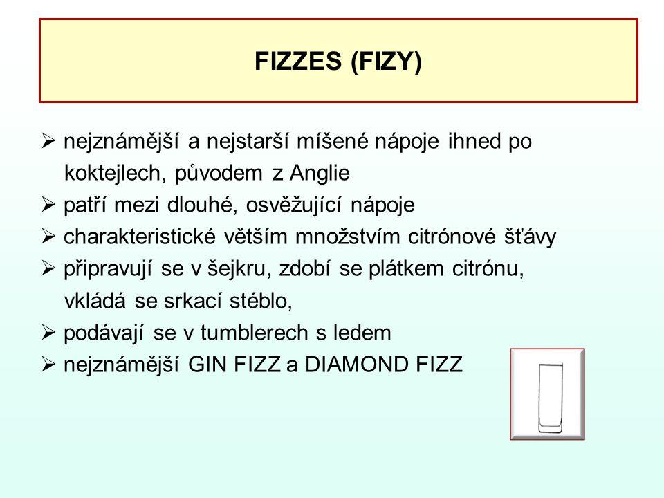 FIZZES (FIZY)  nejznámější a nejstarší míšené nápoje ihned po koktejlech, původem z Anglie  patří mezi dlouhé, osvěžující nápoje  charakteristické