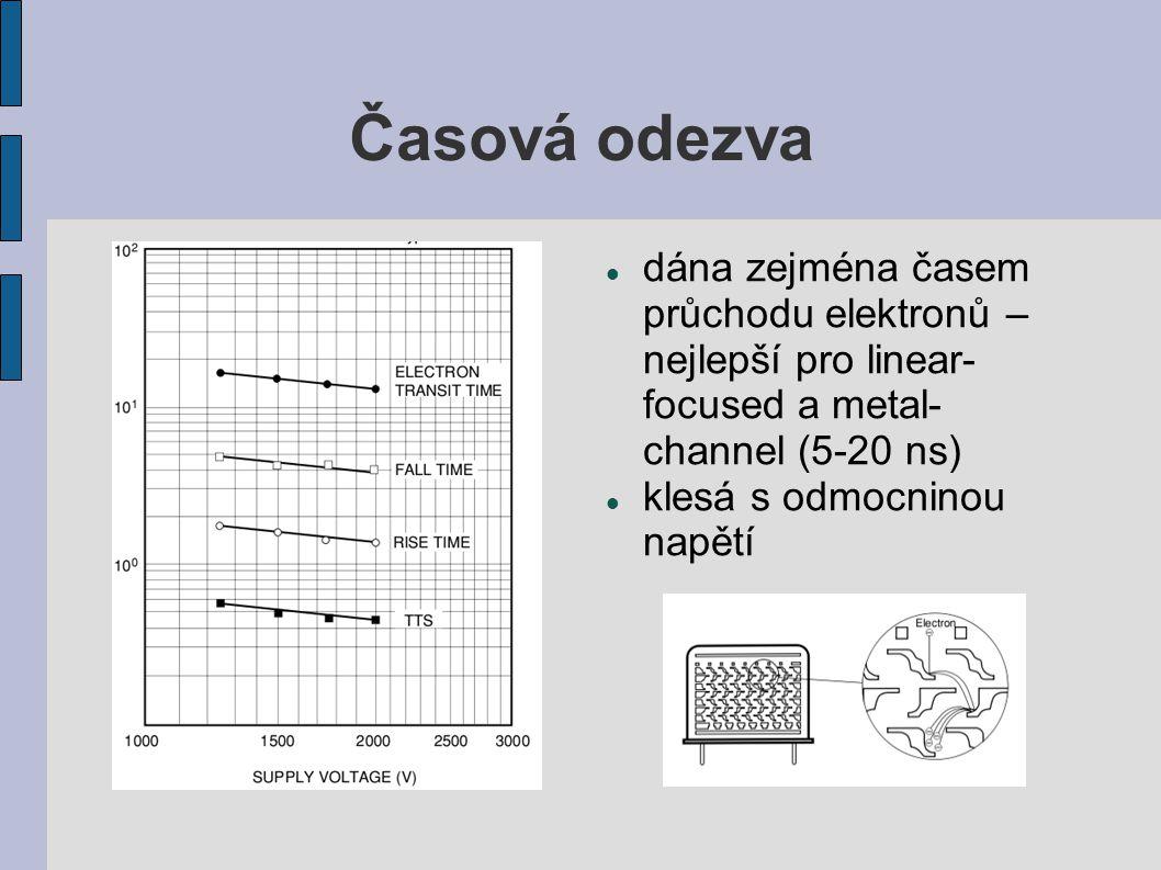Časová odezva dána zejména časem průchodu elektronů – nejlepší pro linear- focused a metal- channel (5-20 ns) klesá s odmocninou napětí