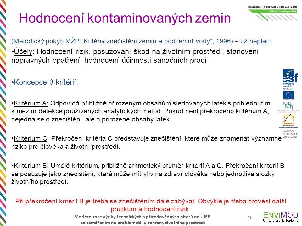 """Modernizace výuky technických a přírodovědných oborů na UJEP se zaměřením na problematiku ochrany životního prostředí (Metodický pokyn MŽP """"Kritéria z"""