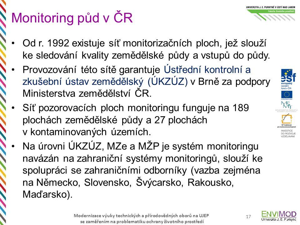 Modernizace výuky technických a přírodovědných oborů na UJEP se zaměřením na problematiku ochrany životního prostředí Od r. 1992 existuje síť monitori