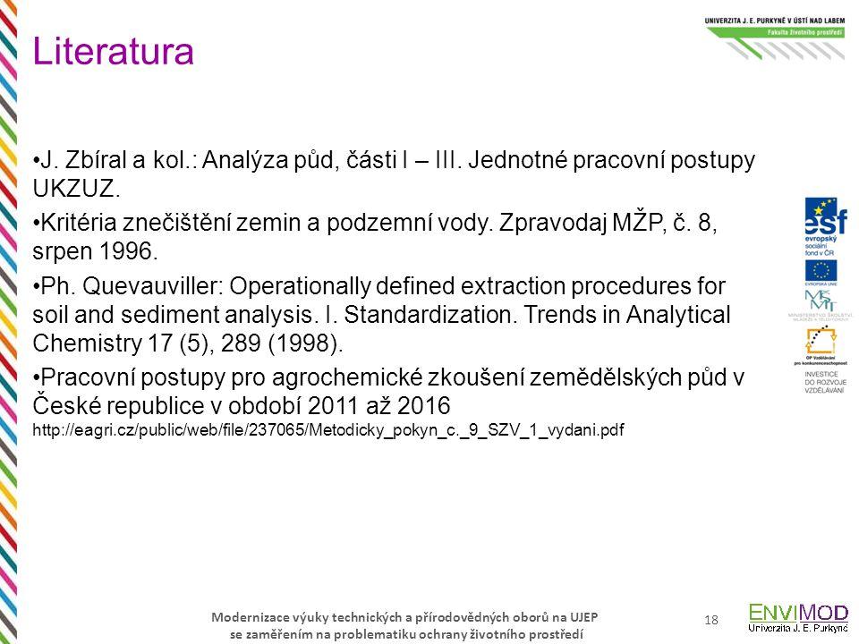 Modernizace výuky technických a přírodovědných oborů na UJEP se zaměřením na problematiku ochrany životního prostředí J. Zbíral a kol.: Analýza půd, č