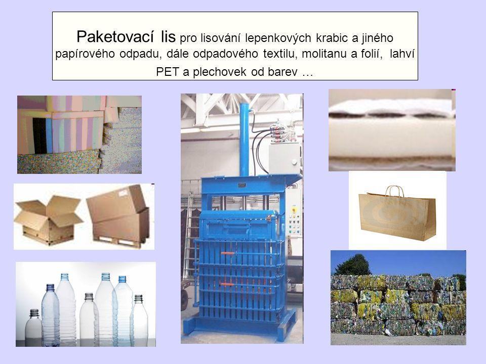 Paketovací lis pro lisování lepenkových krabic a jiného papírového odpadu, dále odpadového textilu, molitanu a folií, lahví PET a plechovek od barev …