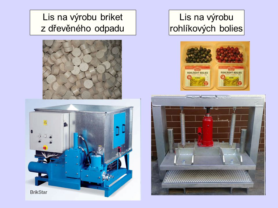 Lis na výrobu rohlíkových bolies Lis na výrobu briket z dřevěného odpadu