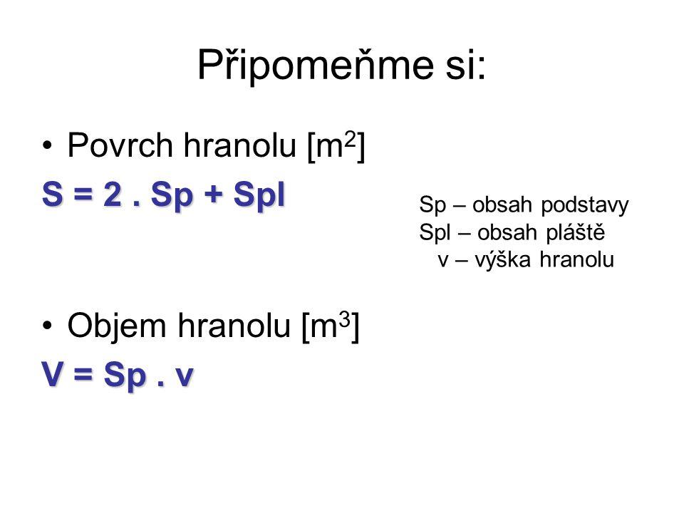 Připomeňme si: Povrch hranolu [m 2 ] S = 2. Sp + Spl Objem hranolu [m 3 ] V = Sp. v Sp – obsah podstavy Spl – obsah pláště v – výška hranolu