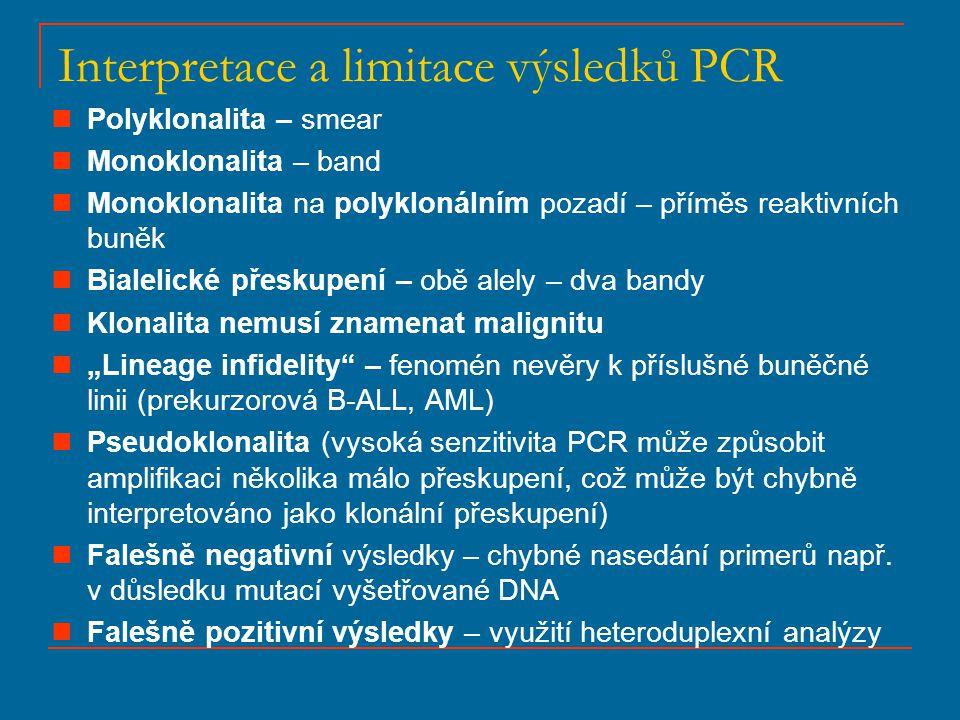 Interpretace a limitace výsledků PCR Polyklonalita – smear Monoklonalita – band Monoklonalita na polyklonálním pozadí – příměs reaktivních buněk Biale