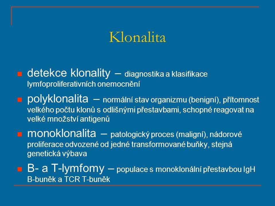 Klonalita detekce klonality – diagnostika a klasifikace lymfoproliferativních onemocnění polyklonalita – normální stav organizmu (benigní), přítomnost