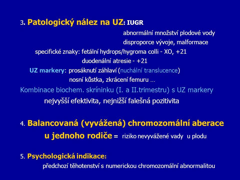 3. Patologický nález na UZ : IUGR abnormální množství plodové vody disproporce vývoje, malformace specifické znaky: fetální hydrops/hygroma colli - XO