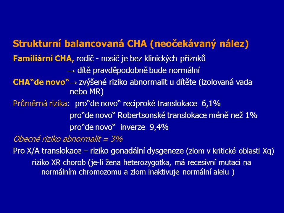 """Strukturní balancovaná CHA (neočekávaný nález) Familiární CHA, rodič - nosič je bez klinických příznků → dítě pravděpodobně bude normální CHA""""de novo"""""""
