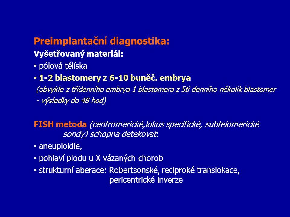 Preimplantační diagnostika: Vyšetřovaný materiál: pólová tělíska 1-2 blastomery z 6-10 buněč. embrya (obvykle z třídenního embrya 1 blastomera z 5ti d