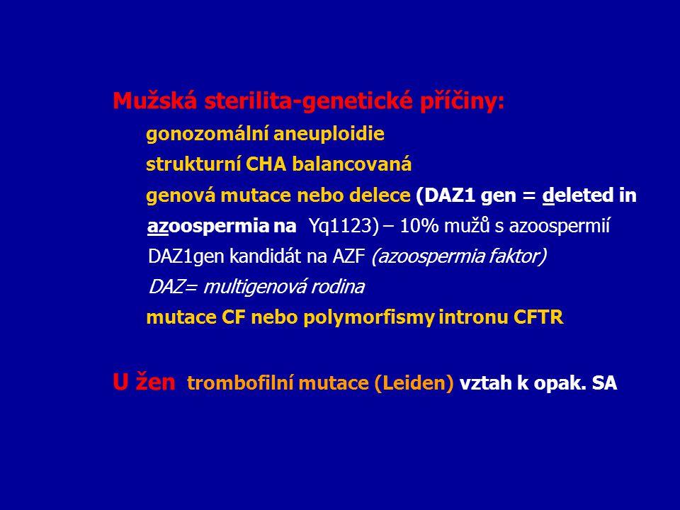Mužská sterilita-genetické příčiny: gonozomální aneuploidie strukturní CHA balancovaná genová mutace nebo delece (DAZ1 gen = deleted in azoospermia na