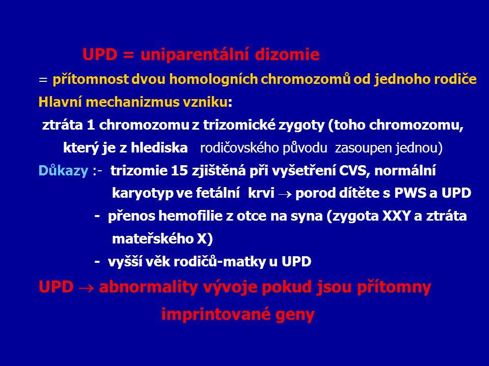 UPD = uniparentální dizomie = přítomnost dvou homologních chromozomů od jednoho rodiče Hlavní mechanizmus vzniku: ztráta 1 chromozomu z trizomické zyg