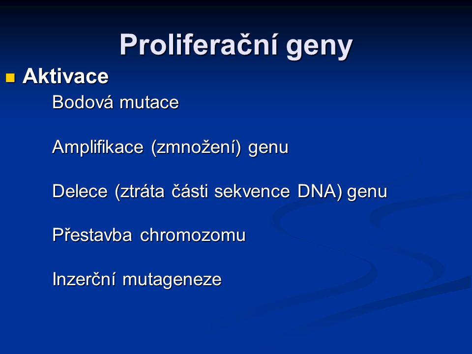 Změna protoonkogenu na onkogen přesun genu na jiné místo v genomu přesun genu na jiné místo v genomu amplifikace (zmnožení) protoonkogenu amplifikace (zmnožení) protoonkogenu bodová mutace v protoonkogenu bodová mutace v protoonkogenu