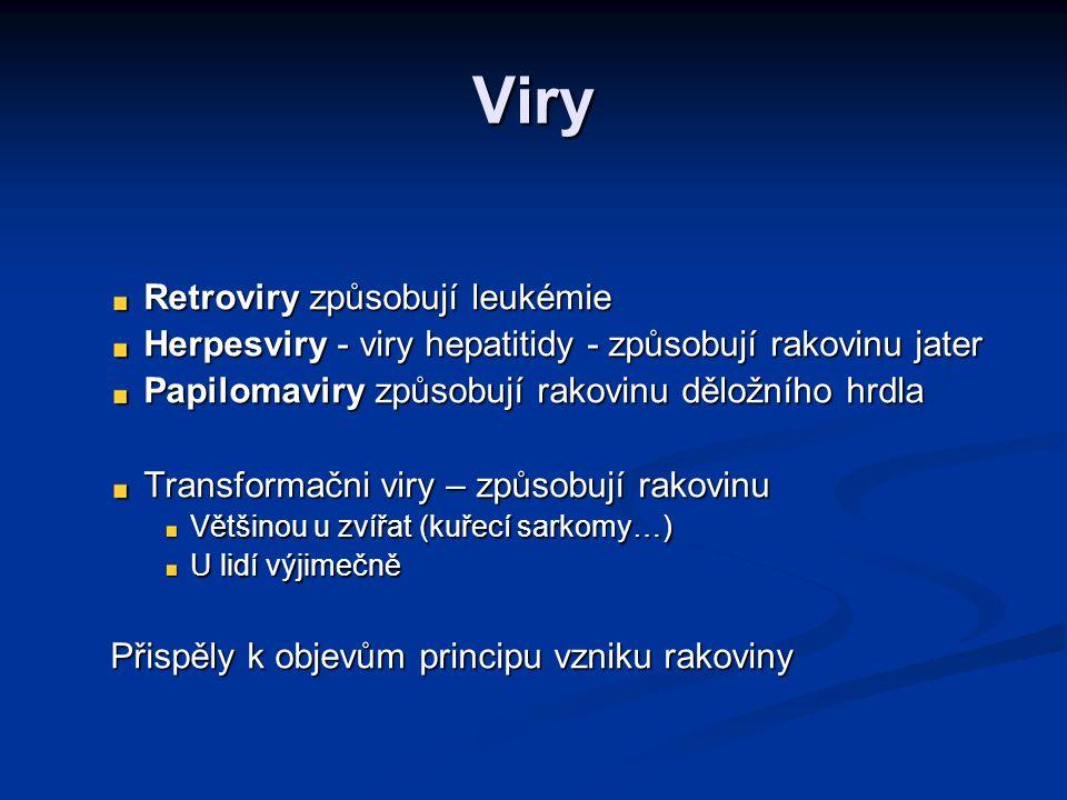 Retroviry 1911 - Rous – přenosný sarkom u kuřat 1911 - Rous – přenosný sarkom u kuřat Etiologické agens – retrovirus (RSV) Etiologické agens – retrovirus (RSV) Retrovirus Retrovirus RNA virus Reverzní transkriptáza (Temin, Říman) – přepis z RNA do hostitelské DNA Inkorporovaný virus – provirus Geny viru schopné indukovat nádorovou transformaci – virové onkogeny – sekvenčně identické s některými geny u savců Retrovirové onkogeny Retrovirové onkogeny Akutně transformující viry Pomalu transformující viry (inzerční mutageneze)
