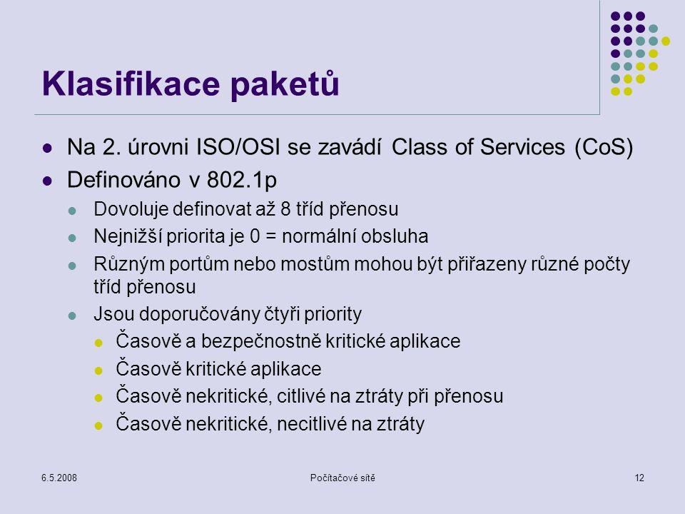 6.5.2008Počítačové sítě12 Klasifikace paketů Na 2.