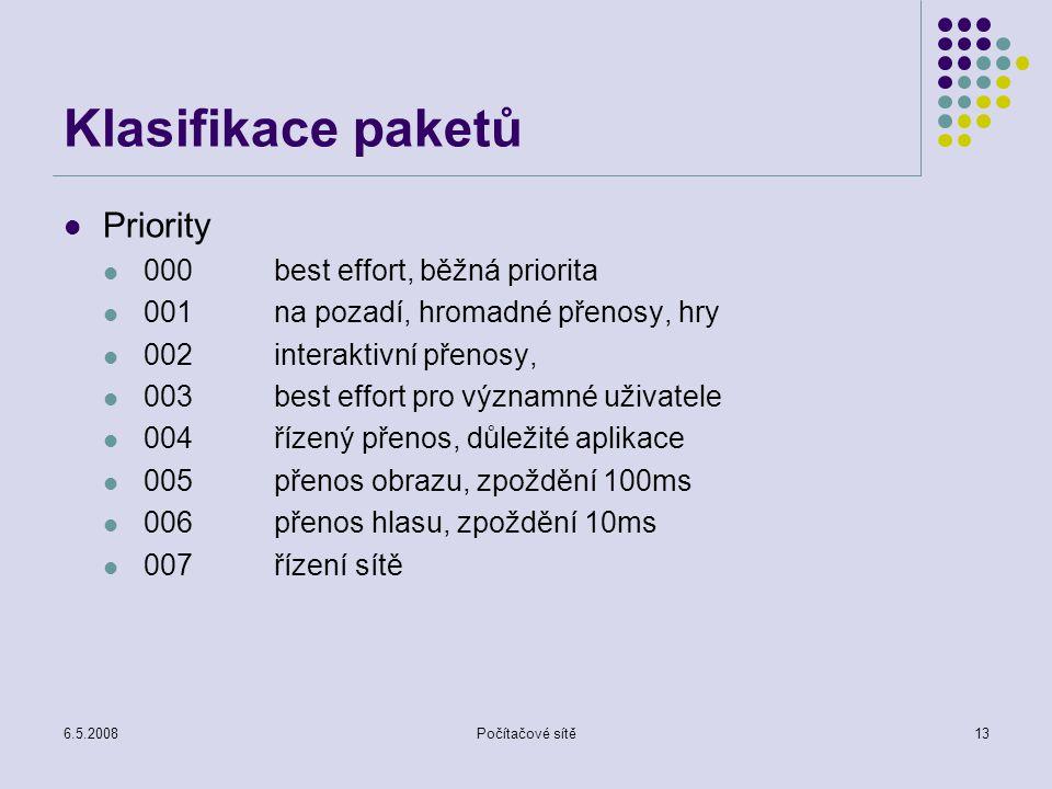 6.5.2008Počítačové sítě13 Klasifikace paketů Priority 000best effort, běžná priorita 001na pozadí, hromadné přenosy, hry 002interaktivní přenosy, 003best effort pro významné uživatele 004řízený přenos, důležité aplikace 005přenos obrazu, zpoždění 100ms 006přenos hlasu, zpoždění 10ms 007řízení sítě