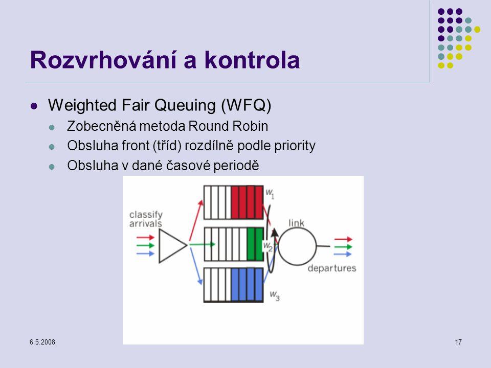 6.5.2008Počítačové sítě17 Rozvrhování a kontrola Weighted Fair Queuing (WFQ) Zobecněná metoda Round Robin Obsluha front (tříd) rozdílně podle priority Obsluha v dané časové periodě