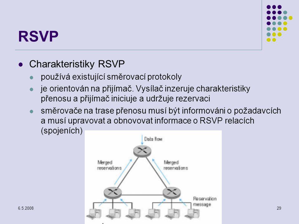 6.5.2008Počítačové sítě29 RSVP Charakteristiky RSVP používá existující směrovací protokoly je orientován na přijímač.