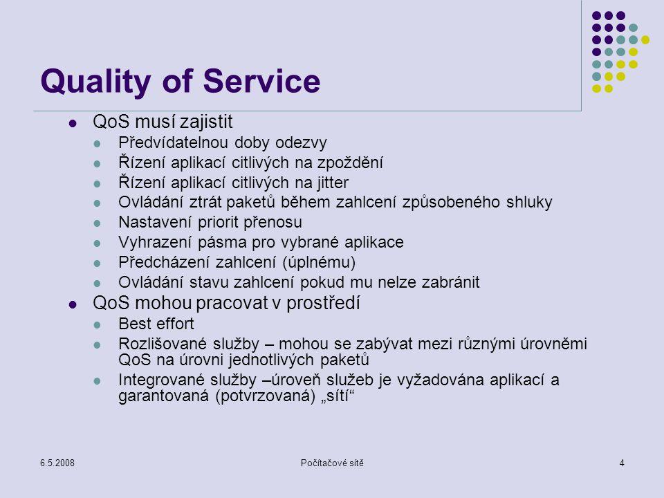 6.5.2008Počítačové sítě15 Rozvrhování a kontrola Prioritní rozvrhování - třídám je přiřazena různá priorita přiřazená třída může záviset na explicitním značkování nebo informaci v záhlaví (IP adresy, TCP porty,...