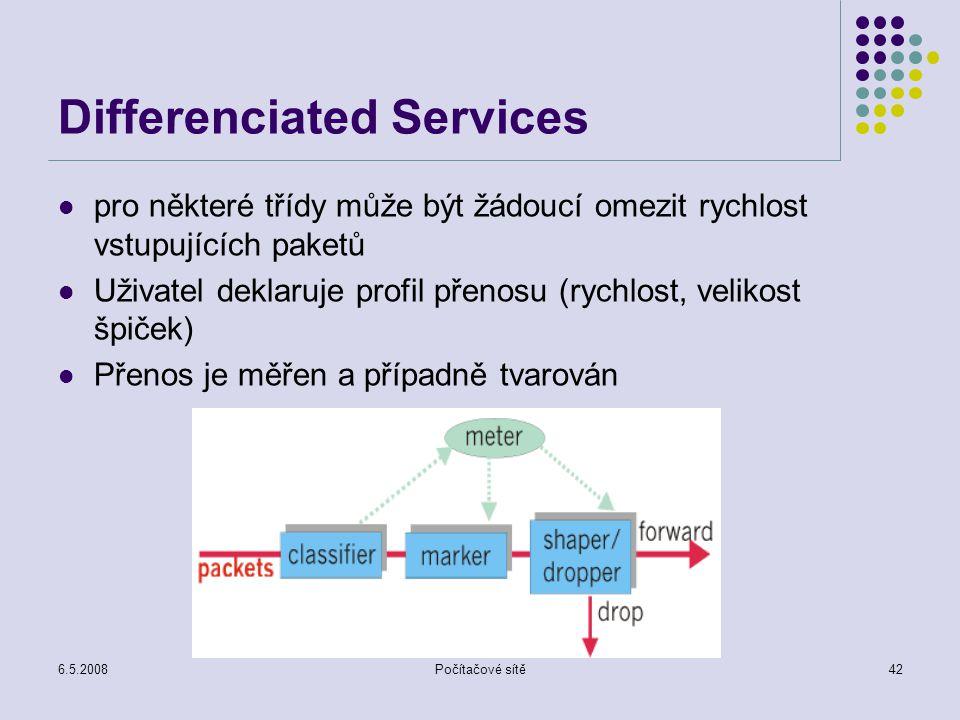 6.5.2008Počítačové sítě42 Differenciated Services pro některé třídy může být žádoucí omezit rychlost vstupujících paketů Uživatel deklaruje profil přenosu (rychlost, velikost špiček) Přenos je měřen a případně tvarován
