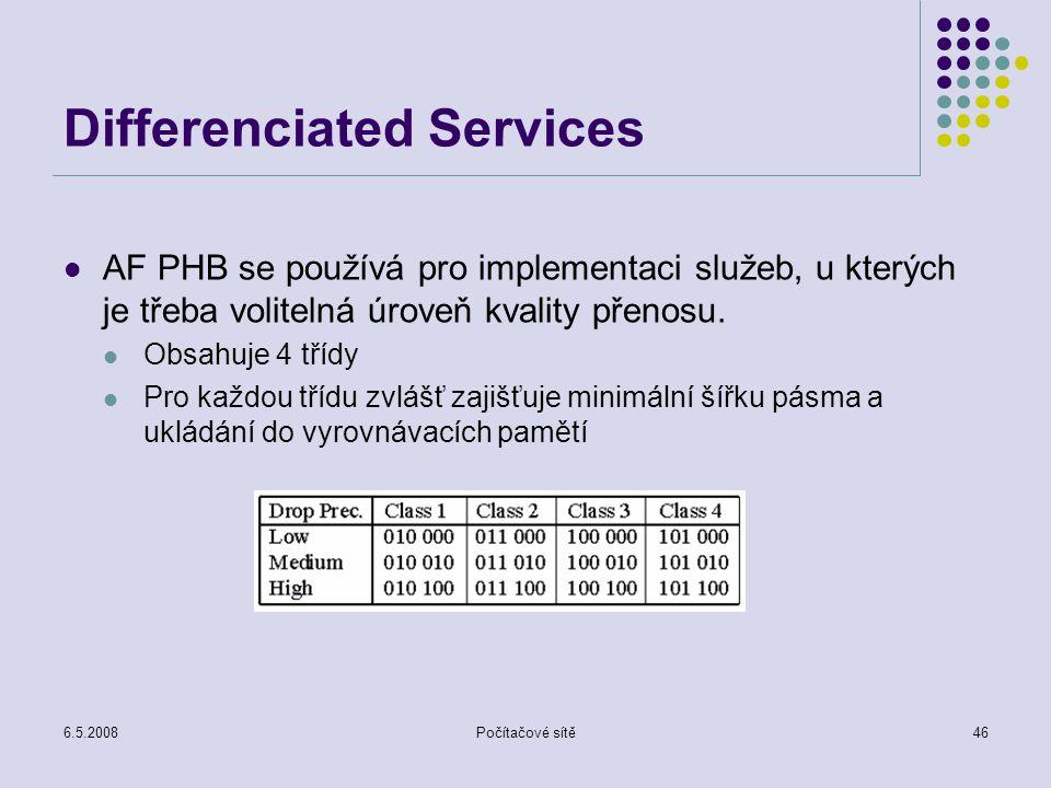 6.5.2008Počítačové sítě46 Differenciated Services AF PHB se používá pro implementaci služeb, u kterých je třeba volitelná úroveň kvality přenosu.