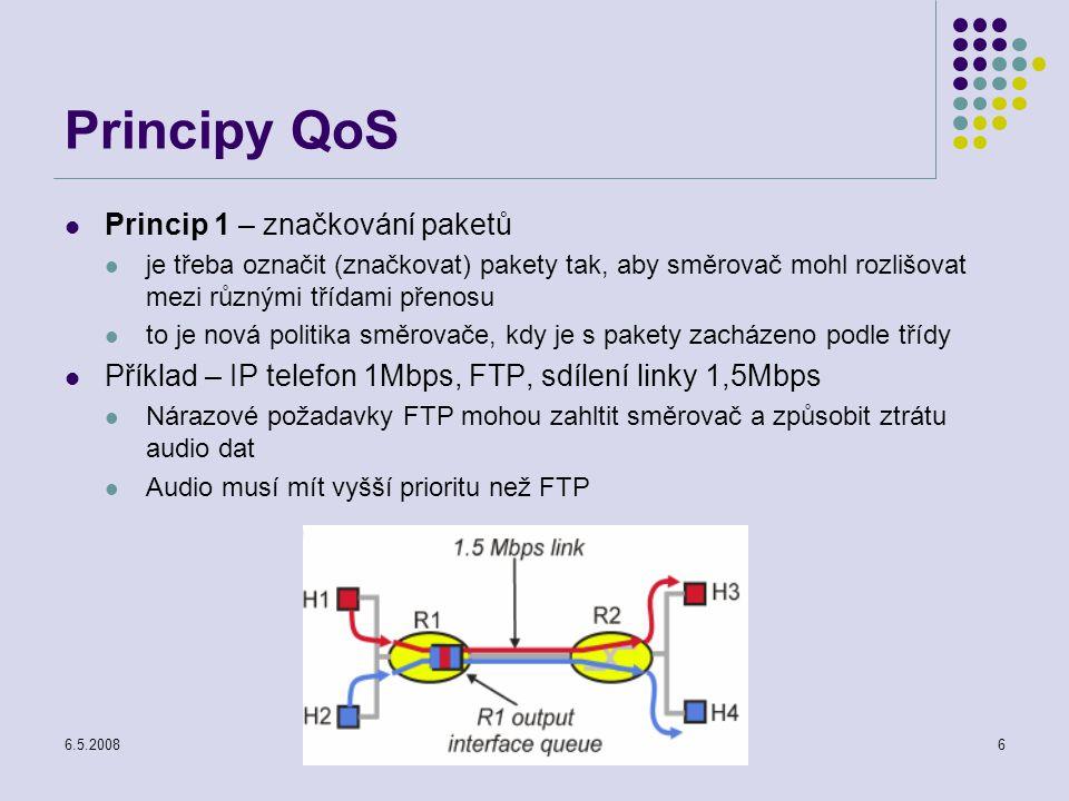 6.5.2008Počítačové sítě6 Principy QoS Princip 1 – značkování paketů je třeba označit (značkovat) pakety tak, aby směrovač mohl rozlišovat mezi různými třídami přenosu to je nová politika směrovače, kdy je s pakety zacházeno podle třídy Příklad – IP telefon 1Mbps, FTP, sdílení linky 1,5Mbps Nárazové požadavky FTP mohou zahltit směrovač a způsobit ztrátu audio dat Audio musí mít vyšší prioritu než FTP