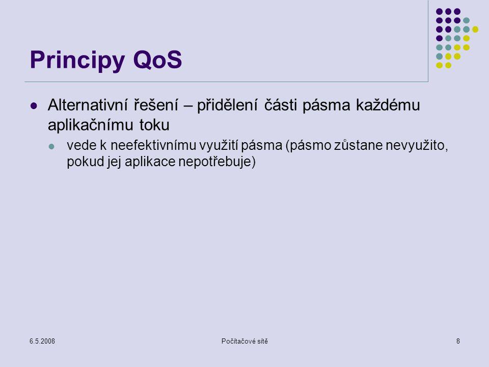 6.5.2008Počítačové sítě9 Principy QoS Princip 3 – při izolaci tříd je třeba využít zdroje co nejefektivněji nepodporovat přenosy, které překračují kapacitu linky
